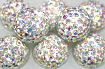 12mm Clear AB 130 Stone Pave Crystal Beads - Half Drilled  PCBHD12-130-001